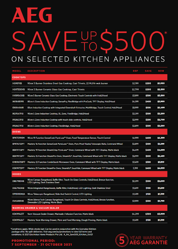 AEG Save Up To $500 Sept Oct 2021